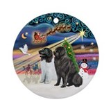 Xmas Magic-2 Newfies (Ldsr+blk) Ornament (Round)