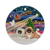 Xmas Magic-2 Pekingese (W+R) Ornament (Round)