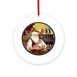 Santa's Pomeranian (R) Ornament (Round)