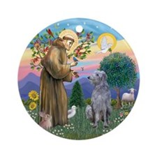 St Francis - Scottish Deerhound Ornament (Round)