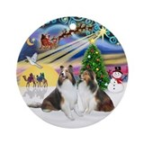 Xmas Magic - Two Shelties Ornament (Round)