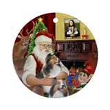 Santa's Two Shelties (D-L)Ornament (Round)
