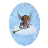 A sweet cherubic angel Ornament (Oval)