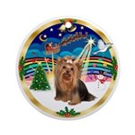 XmasMusic5-Yorkshire Terrier #7 Ornament (Round)