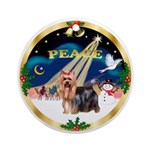 XmasDove-PEACE-Yorkshire Terrier Ornament (Round)