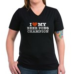 I Love My Beer Pong Champion Women's V-Neck Dark T