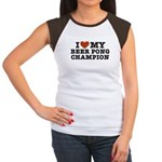 I Love My Beer Pong Champion Women's Cap Sleeve T-