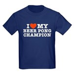 I Love My Beer Pong Champion Kids Dark T-Shirt