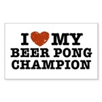 I Love My Beer Pong Champion Rectangle Sticker 10