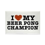 I Love My Beer Pong Champion Rectangle Magnet