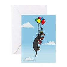 Black Tan Birthday Weiner Dog Greeting Card