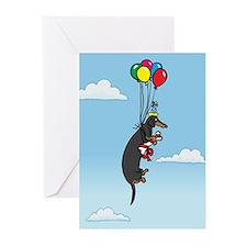 Black Tan Birthday Weiner Dog Greeting Cards (Pk o