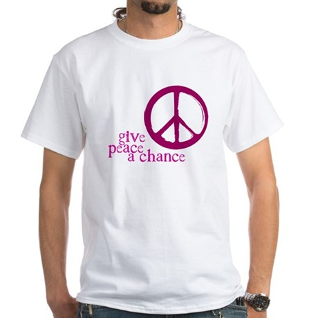 Give Peace a Chance - Pink Men's White T-Shirt