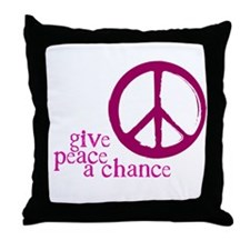 Give Peace a Chance - Pink Throw Pillow