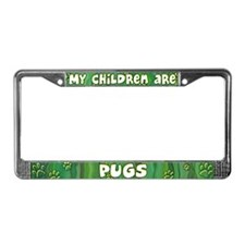 My Children Pug License Plate Frame