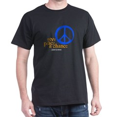 Give Peace a Chance - Blue & Orange Dark T-Shi