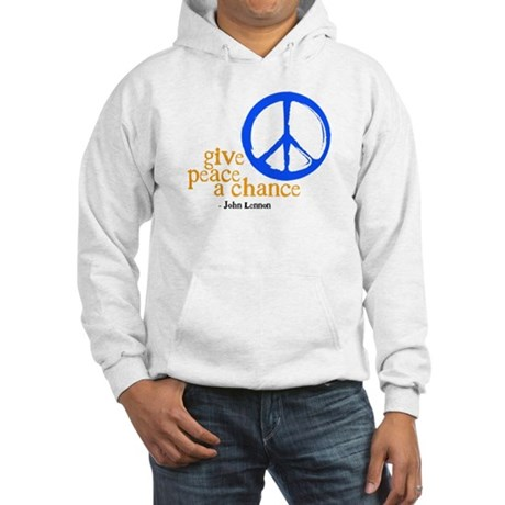 Give Peace a Chance - Blue & Orange Hooded Sweatsh