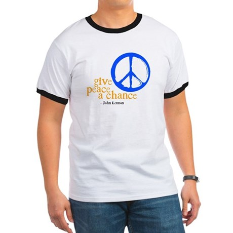 Give Peace a Chance - Blue & Orange Ringer T