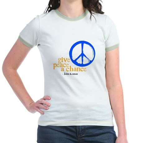 Give Peace a Chance - Blue & Orange Jr. Ringer T-S