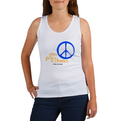 Give Peace a Chance - Blue & Orange Women's Tank T