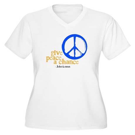 Give Peace a Chance - Blue & Orange Women's Plus S