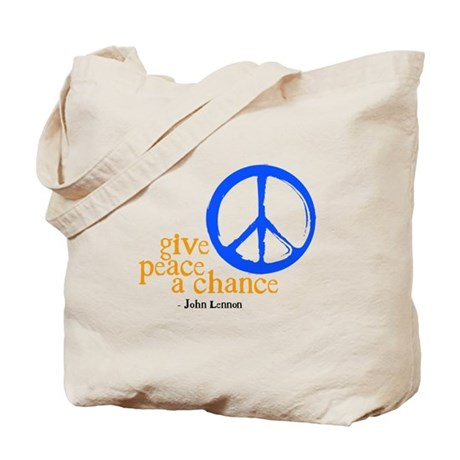Give Peace a Chance - Blue & Orange Tote Bag