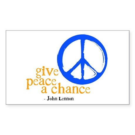 Give Peace a Chance - Blue & Orange Sticker (Recta