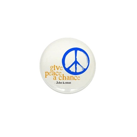 Give Peace a Chance - Blue & Orange Mini Button (1