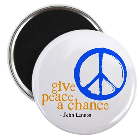 "Give Peace a Chance - Blue & Orange 2.25"" Magnet ("