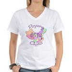 Poyang China Map Women's V-Neck T-Shirt