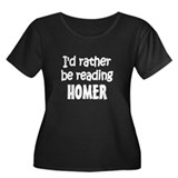 Homer Women's Plus Size Scoop Neck Dark T-Shirt