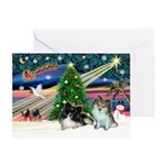 XmasMagic/2 Pomeranians Greeting Card