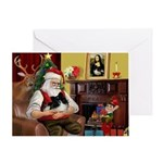 Santa's Pomeranian (bw) Greeting Card