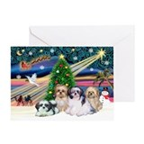 XmasMagic/4 Shih Tzus Greeting Card