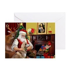 Santa's Red Husky Greeting Cards (Pk of 10)