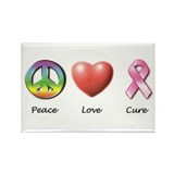 Peace, Love, Cure Rectangle Magnet (10 pack)