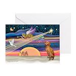 Xmas Star & Vizsla Greeting Card