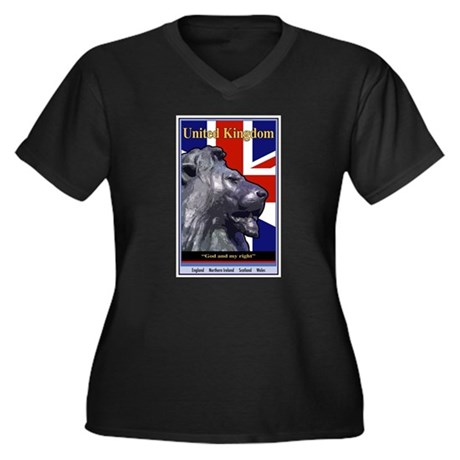 United Kingdom Women's Plus Size V-Neck Dark T-Shi