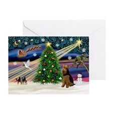 Xmas Magic & Welsh Terrier Greeting Card