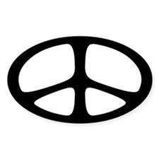 Peace Oval Sticker (Neo Black)