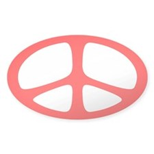 Peace Oval Sticker (Neo Red)