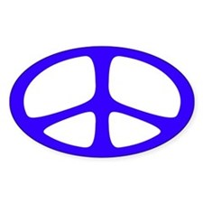 Peace Oval Sticker (Neo Blue)