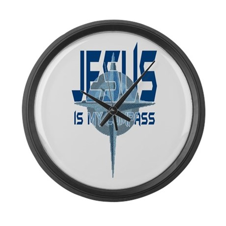 Jesus is My Compass - Blue Giant Clock