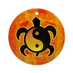 Gold Yin Yang Turtle Ornament (Round)