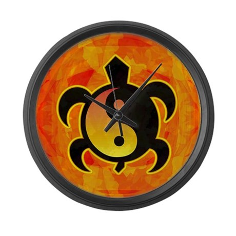 Gold Yin Yang Turtle Large Wall Clock