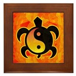 Gold Yin Yang Turtle Framed Tile