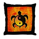 Gold Yin Yang Turtle Throw Pillow