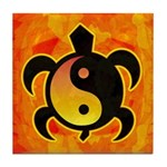 Gold Yin Yang Turtle Tile Coaster