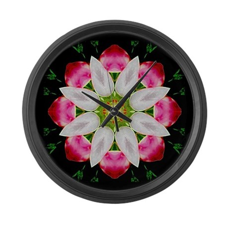 White Flower Large Wall Clock