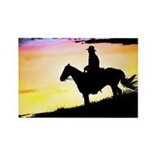 Cowboy at Sunset Rectangle Magnet
